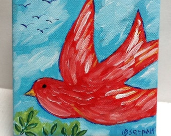 "Red Bird Flying Acrylic Painting  5X5""x2"" Canvas"