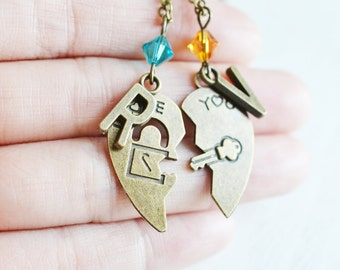 Personalized Key to My heart Couple Necklaces, Couple Key and Locket Necklace, Key and Lock Necklace, Soul Mates, Relationship, Anniversary