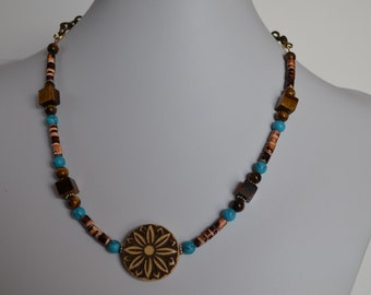 Turquoise and Tiger Eye Pendant Necklace, Double sided Carved Pendant Necklace, Copper and Turquoise Pendant Necklace