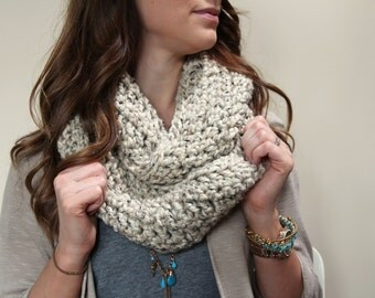 Crochet Infinity Scarf - Oatmeal - Fashion Accessories - Chunky Knit Scarf