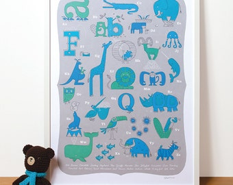 Modern Nursery Art, Animal Alphabet Print in Blue for a Baby Boy