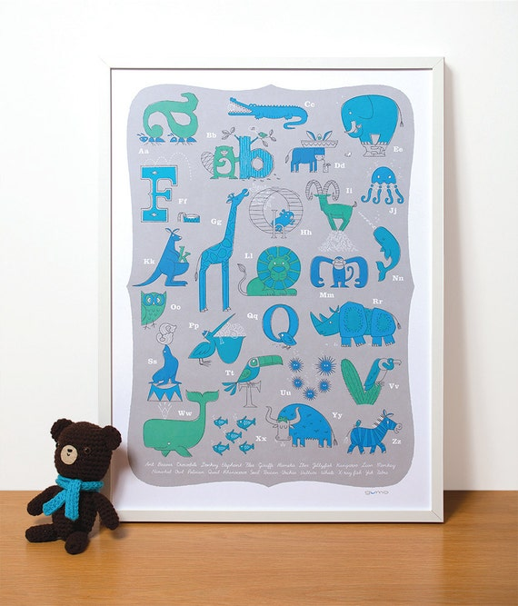 Modern Nursery Art, Animal Alphabet Print in Blue for a Baby Boy
