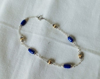 Azurite anklet with 14 kt. gold beads