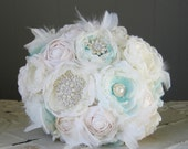 Fabric flower brooch bouquet . White, blue, aqua, ice. Custom made order any color theme