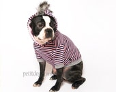 SALE Small Dog Clothes Mohawk Black and pink Stripe dog hoodie sweater