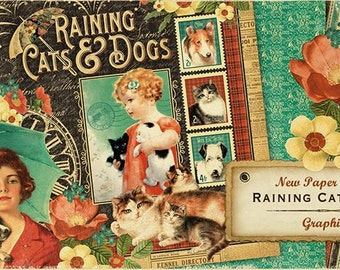 """Graphic 45  """"Raining Cats & Dogs"""" 12x12 Papers NEW!"""