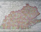 KY TN MS 1895 Kentucky Tennessee Map. Mississippi Map. Genuine 19th Century Map Art Print. Nashville, Memphis, Frankfort