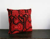 Rustic Cross Stitch Vintage African Fabric Throw Pillow