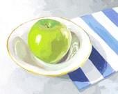 """8x10"""" kitchen art - food print - """"Green Apple"""""""