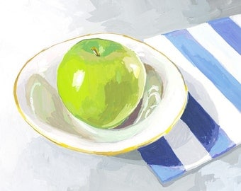 "8x10"" kitchen art - food print - ""Green Apple"""