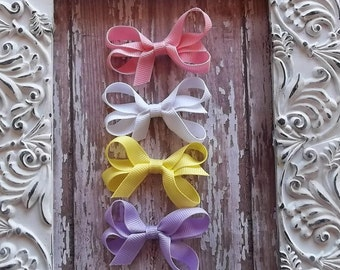 "Set of 4 Boutique Style 2"" Hair Bows Pink-White-Yellow-Lavender Newborns, Babies, Toddlers"