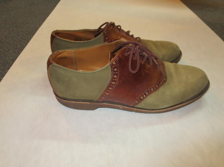 Sebago Vintage Saddle Shoes. Olive Green Suede And Brown
