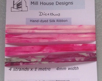 Hand-dyed pure silk embroidery ribbon