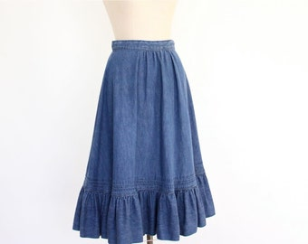 Chambray Peasant Skirt, 80s Midi Denim Blue Jean Boho Hipster ruffled country western hippie prairie faded rustic gathered simple skirt
