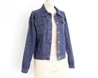 70s Denim Jacket, Cropped Blue Jean Boho Rock & Roll Preppy minimalist greaser rockabilly tailored fitted tight biker hipster light coat