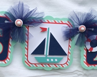Sailboat baby shower banner, boat baby shower, sailboat banner, it's a boy banner, teal red and navy, boy baby shower, baby shower decor