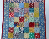 "OOAK Reproduction 1930's  One-Patch  ""Scrappy"" American Girl Quilt, Doll Quilt, Baby Doll Quilt,  Wallhanging Quilt, Table Topper Quilt"