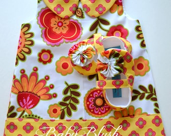 Yellow Red Orange Floral Retro A-line Dress Shoes Set Infant Outfit Baby Shoes