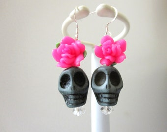 Sugar Skull Earrings Gray Hot Pink Rose Day Of The Dead Jewelry