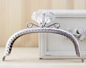 12.5cm(4.92inch) crystal beads silver sewing bag purse frame C32S-M