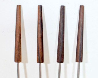 Vintage Fondue Forks Rosewood: Boxed Set of Four Melting Pot Party