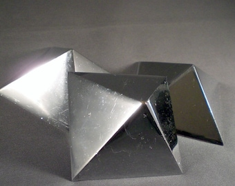 Vintage Mid Century Pyramid Chrome Hardware Finials Geometric Abstract