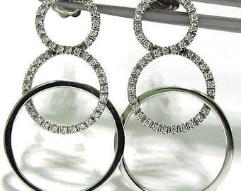0.50CT Diamonds Circles Earrings14KT Modern Deco