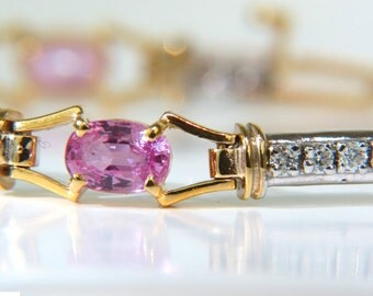4.25CT Natural Pink Sapphires Diamond Bracelet Vivid & Durable