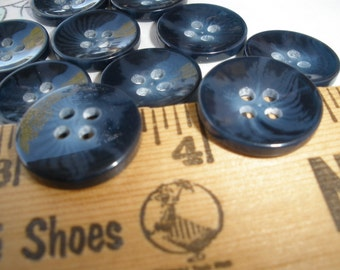"""Concave Blue Burst Buttons 11/16"""" (17MM 28L) 10 each Retro Cool shirt style 4 hole sew-on jewelry crafts dark blue"""
