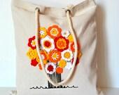 Canvas Tote bag, Personalized canvas tote bag, Canvas cotton tote bag, Tree life tote bag, crochet flowers tote bag, eco bag reusable,