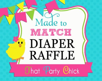 Made to Match Diaper Raffle Ticket Printable by That Party Chick