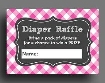 Diaper Raffle Printable - Instant Download - Gender Reveal, Baby Shower - Baby Q Collection