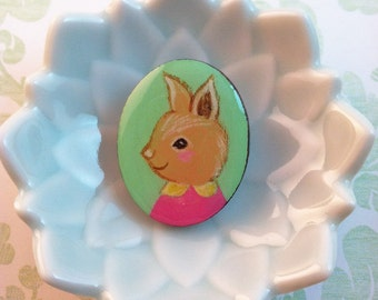 Hand Painted Rabbit with Peter Pan Collar Brooch by Megumi Lemons