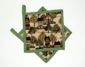 Pot Holders Folk Art Saltbox Houses Quilted Set of 2