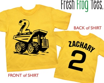 Dump Truck Birthday Shirt Personalized Construction Birthday Shirt  - any age and name - you pick the colors!