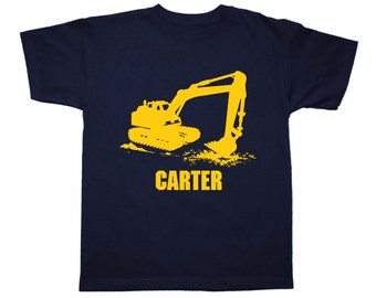 Excavator Birthday Shirt - any name - pick your colors! Construction Birthday