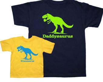 Dinosaur Daddy t shirt daddysaurus and Kid T Rex shirt - 2 matching shirts - pick your colors!