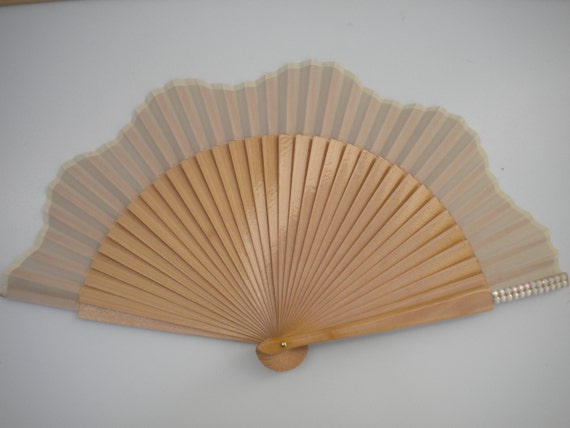 Bridal Rhinestone Hand Fan in Natural Varnished Wood And Fancy Bling Finish SIZE OPTIONS by Kate Dengra Spain