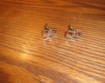 vintage pair cuff links silvertone rhinestones