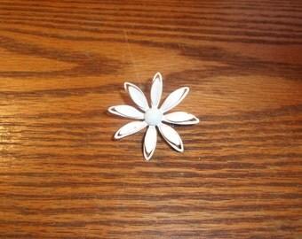 vintage pin brooch white metal flower