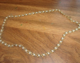 vintage necklace goldtone caged faux pearls