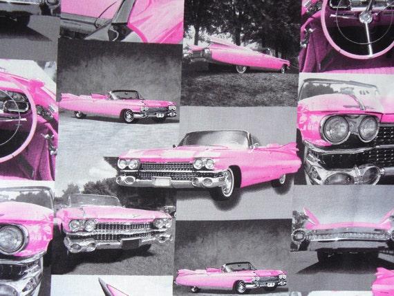 Pink Cadillac / Pink Convertible Fabric / OOP / Last Half Yard