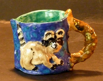 Sweet Little Raccoon Pitcher hand made in US