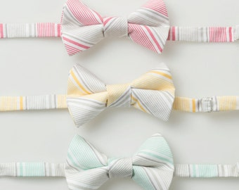 Little Boy Bowties - Gray Stripes - Pink, Yellow, or Mint - Ring Bearer Bow Ties