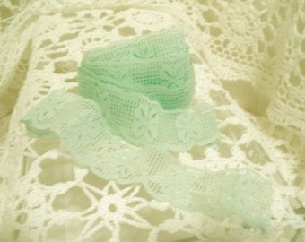 Vintage Mint Green Lace with Floral Stitch