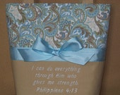 Light Turquoise, Cream and Tan Paisley Embroidered Bible Verse Scripture Bag, Philippians 4:13, Made-To-Order