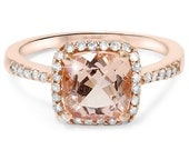 Cushion Morganite Diamond Halo Engagement Ring  2.65CT Cushion Morganite & Diamond Halo Engagement Ring Vintage Antique Style 14K Rose Gold