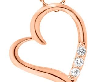 Diamond Heart Pendant 14k Rose Gold