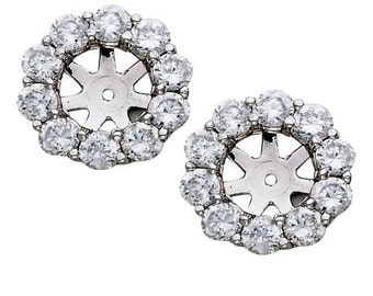 1.50CT Diamond Halo Earring Studs Jackets White Gold Fits 1CT Stones (6-6.7MM)