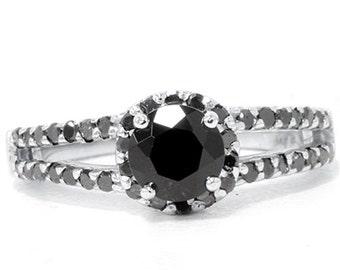 1.60CT Black Diamond & Black Spinel Halo Split Shank Engagement Ring 14K White Gold